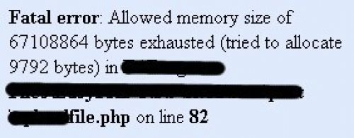 Allowed memory size of bytes exhausted