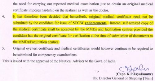 Do not submit original Medical Certificate for STCW endorsement